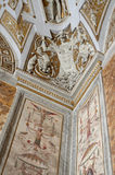 Stucco moulding in hall. Vatican museums. The Vatican Museums originated as a group of sculptures collected by Pope Julius II (1503-1513) and placed in what Stock Photography