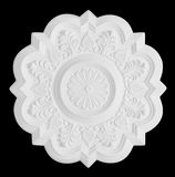 Stucco moulding rosette, isolated on black. Floral stucco moulding rosette on black background stock images