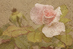Stucco Rose. A rose photograph overlayed on the photo of a stucco wall Stock Photo