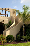 Stucco Stairway. Detail of curved outside stairway of a stucco, adobe-style house Royalty Free Stock Photo