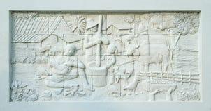 Stucco tailandese della coltura natale sulla parete del tempiale Fotografia Stock Libera da Diritti