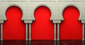 Stucco wall and marble floor with arches in Eastern style Royalty Free Stock Images