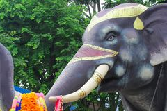 Elephant stucco has been painted on the part. royalty free stock photography