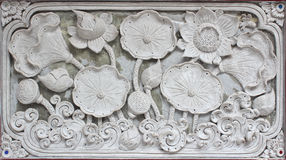 Stucco white sculpture decorative pattern wall design square for Stock Images