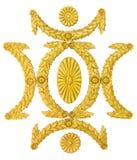 Stuck-Dekorationselemente des Ornamentrahmens goldene auf Weiß Stockbild