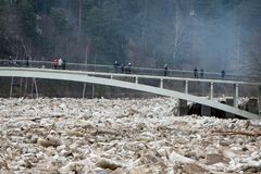 Stuck ice in Ogre river in city of Ogre, Latvija. Stuck ice in Ogre river in city of Ogre, Latvija Stock Photography
