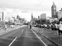 Stuck in the middle with nowhere to go. Stuck in the middle of a marathon in Melbourne stock images