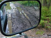 Stuck In The Mud. View of truck stuck in the mud from passenger side window; Woodbine, New Jersey stock photo