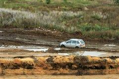 Stuck passenger car. Stock Photos