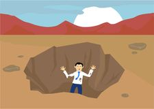 Stuck in a Pit. Man stuck in a pit out in the wilderness Royalty Free Stock Image