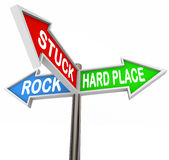 Stuck Between Rock Hard Place 3 Arrow Road Signs Stock Photo
