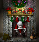 Stuck Santa in the Fireplace. Computer-generated 3D cartoon illustration depicting Santa Claus stuck in a fireplace Royalty Free Stock Photography