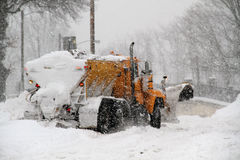 Stuck Snow Plow. Snow plow stuck in snow during major winter storm Stock Photography