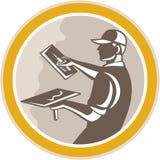 Stuckatör Retro Masonry Worker Trowel vektor illustrationer