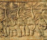 Stuckatur sniden vägg som visar 5 elefanter Arkivbilder