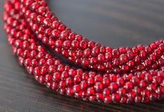Stucken halsband från röda pärlor Arkivbilder
