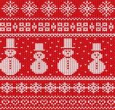 Stucken julbakgrund med snögubbear och snöflingor Sömlös modell för geometrisk rät maska stock illustrationer