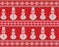 Stucken juldesign med snögubbear och snöflingor Sömlös prydnad för geometrisk rät maska royaltyfri illustrationer