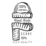 Stucken svartvita halsduk och lock Logo för plats eller affär för hantverk släkt vektor illustrationer