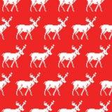 Stucken tröja med den sömlösa modellen för hjortar vita röda stjärnor för abstrakt för bakgrundsjul mörk för garnering modell för royaltyfri illustrationer