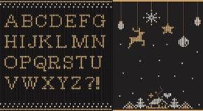 Stuckit guld- alfabet på sömlös svart bakgrund Arkivfoto