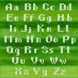 Stuckit vektoralfabet, vit satte en klocka på Sans Serif bokstäver Del 1 - bokstäver Royaltyfri Fotografi