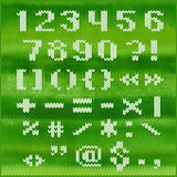 Stuckit vektoralfabet, vit satte en klocka på Sans Serif bokstäver Del 2 - nummer och interpunktion Royaltyfri Bild