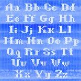 Stuckit vektoralfabet, vit satte en klocka på seriffbokstäver Del 1 - bokstäver Arkivfoton