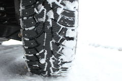 Studded Snow Tires In The Winter Royalty Free Stock Images