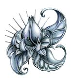 Studded steel lotus. Steel flower of a lotus with thorns and scales, a symbol of reliability, safety and protection stock images
