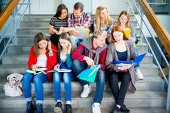 Studenci uniwersytetu na schodkach zdjęcia stock