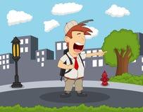 Studencka pozycja i śmiać się na ulicie z miasta tła kreskówką Fotografia Stock