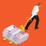 Studencki dług, dług, Emocjonalny stres, finanse, biznesowy dług Dostawać z ubóstwa Mieszkania 3d isometric wektor Obrazy Stock