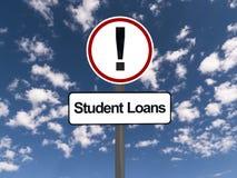 Studencki pożyczka znak ostrzegawczy zdjęcie royalty free