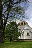 Studenica Monastery. The most famous Serbian monastery with beautifull park and flowers at sunny summer day with clear blue sky Stock Photography