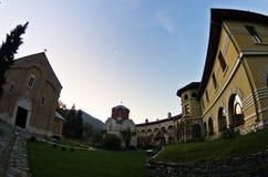 Studenica monastery yard during sunrise Royalty Free Stock Photo