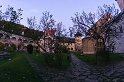 Studenica monastery yard during sunrise Royalty Free Stock Images