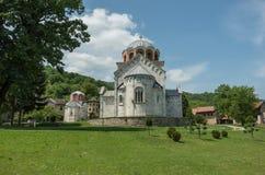 Studenicaklooster, de 12de eeuw Servisch orthodox klooster loc stock afbeelding