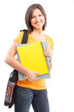 Student. Young smiling  student woman. Over white background Stock Photo