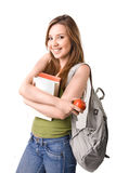 Student. Qith books,  isolated on white Stock Photography