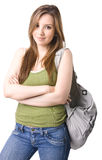Student. Beautiful student isolated on white Stock Photography