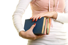 Student. Close up of hands holding a book Royalty Free Stock Images