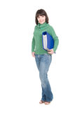 Student. Young adult student woman over white background stock photography