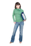 Student. Young adult student woman over white background Royalty Free Stock Photo