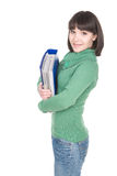 Student. Young adult student woman over white background Royalty Free Stock Photos