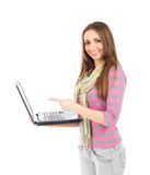 Student. Woman with a laptop computer - isolated over a white background Royalty Free Stock Photo