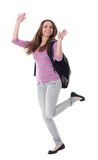 Student. Female student jumping of success isolated over a white background Stock Photos