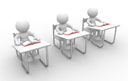 Student. 3d people - man, person with  books at  table study Stock Photo