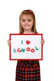 A+ student. Schoolgirl holding notice board which could be used for your own text royalty free stock photography