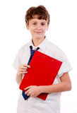 Student. High school student, isolated portrait of young casual male student standing with his notes Royalty Free Stock Photography